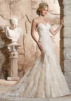 Embroidered Lace Appliqués on Chantilly Lace with Crystal Beading and Soft Net with Lace Ruffles