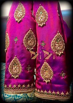 Pattu Saree Blouse Designs, Blouse Designs Silk, Designer Blouse Patterns, Hand Work Blouse Design, Simple Blouse Designs, Stylish Blouse Design, Maggam Work Designs, Hand Embroidery, Embroidery Blouses