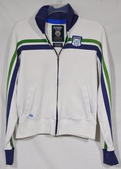 ABERCROMBIE & FITCH Men's White Track Jacket Large Long Sleeve Blue & Green  Strp #AbercrombieFitch