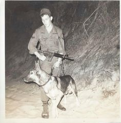 German Shepherd Military War K9 & handler - Vietnam 1969. FACT: The US Government made the decision to LEAVE BEHIND ALL MILITARY WAR K9s IN VIETNAM AFTER THE WAR. ALL THE MWDs were hunted down and killed by the Vietnamese. RIP all MWD Angels who were left behind.