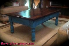 The Crafty Cowgirl: A Cowgirl's Coffee Table Refurbished Furniture, Repurposed Furniture, Furniture Makeover, Painted Furniture, Coffee Table Makeover, Coffe Table, Furniture Projects, Diy Furniture, Furniture Restoration