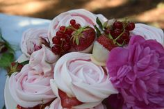 Wedding Cake - rose meringues with strawberries and currants