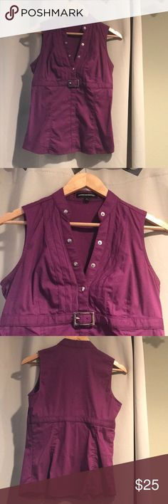 Purple Tank Top 👌🏻 Express Design Studio nice purple tank top. Accent snaps & belt are sliver. Looks great with dress pants or a skirt. ✨ Express Tops Tank Tops