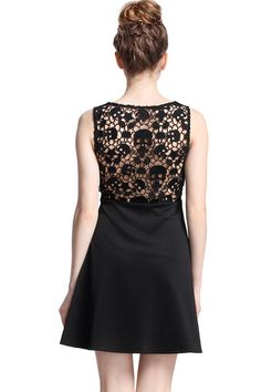 Shop Hollow Skull Black Dress at ROMWE, discover more fashion styles online.
