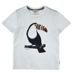 Cotton jersey T-shirt with a toucan print - White Paul Smith Junior для мальчиков | Melijoe.com