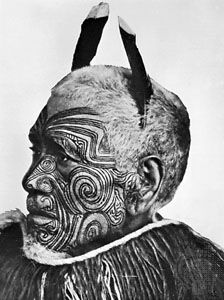 Māori Tā Moko face marking was a sacred practice among the indigenous tribes of New Zealand. Each moko design was unique to each individual, (no two designs were ever the same as they were never duplicated) and signified a young man's transition from childhood to manhood. As well as representing rank and status these marks also had significant meaning to the wearer, symbolically connecting them to their ancestors and lineage.