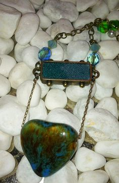 Big Blue Heart Teal and Gold Pendant by MaggieMarieCreations, $32.00