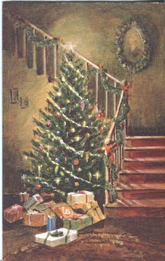 Vintage Hallmark Christmas Card - Christmas Tree by Staircase