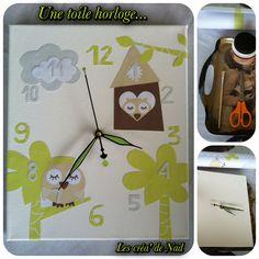 DIY horloge sur toile motifs hibou, pour une chambre d'enfant. Un mécanisme d'horloge, une toile, un rouleau de papier peint à motifs, des ciseaux, de la colle et un peu de patience...