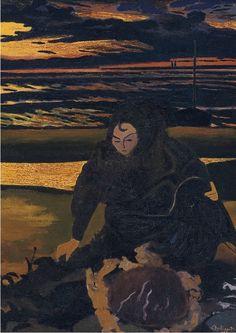 LEON SPILLIAERT (1881-1946) Femme de Pêcheur avec un Crabe Géant (Fisherman's Wife with a Giant Crab, 1923)
