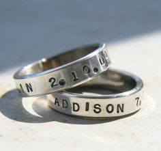 Mother's Ring  - Silver Jewelry - Personalized Handstamped Ring - Mother's Day Jewelry on Etsy, $43.00