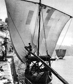 Sailing vessel in the harbor, Porto, 1930s