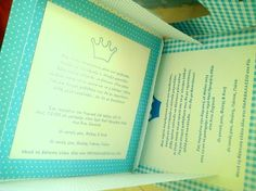 Boy invitation, with crafted envelope