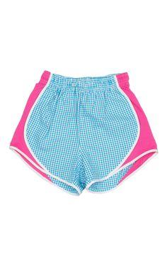 Lauren James Gingham Shorties in Turquoise & Hot Pink