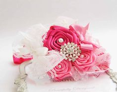 Hot Pink Chic Couture Headband with Hot Pink Roses Posh with Pearls  Rhinestones Tulle and Lace
