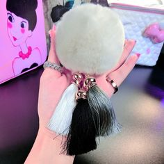 2017 Fashion Women Rabbit Fur Cony Hair Ball Pompom Charm Thrice Tassel Keychain Handbag Key Ring Pendant Gift Drop Shipping