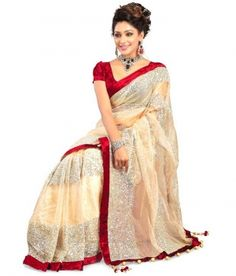New Partywaer cream with Red border saree uf137