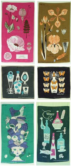 Vintage Tammis Keefe tea towels and cocktail napkins