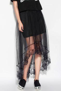 Irregular lace skirts