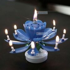 PERFECT MUSICAL & ROTATABLE ROTATING LOTUS FLOWER HAPPY BIRTHDAY CANDLE - BLUE