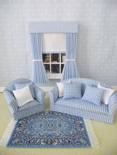 Handmade miniature dolls house living room by minimaisonminiatures, $32.00