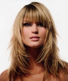 layered haircuts with bangs,Layered hair cuts.Most layered haircuts have bangs. This is especially true on short hair, like a bob or page-boy cut. Layering these haircuts gives the impression of a hair Layered Haircuts With Bangs, Haircuts For Fine Hair, Long Hair With Bangs, Long Hair Cuts, Hairstyles With Bangs, Straight Hairstyles, Layered Hairstyles, Thin Hair, Shaggy Hairstyles
