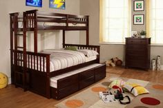 SleepCollection - Furniture of America CM-BK458EXP Twin/Full Bunk Bed with Trundle