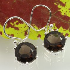 925 Sterling Silver Nice Earrings Real SMOKY QUARTZ Gemstones Wholesale Supplier #SunriseJewellers #DropDangle