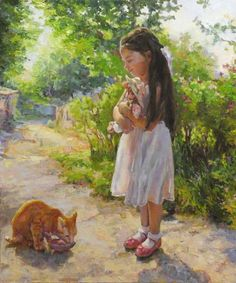Vachagan Manukyan - Girl with doll, 2012 - oil on canvas Pretty Kitty, Pretty Cats, Art Children, Art For Kids, All About Cats, Childhood Toys, Big Eyes, Cat Art, Art Girl