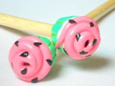 Watermelon Cupcake Knitting Needles by TheClayBeanCo on Etsy, $10.00