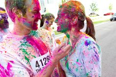 "The Colour Run. Throughout the run, participants are doused in bright pigments (food grade cornstarch that is 100% natural and safe). Each kilometre is focused on a specific colour – 1k is yellow, 2k is blue, 3k is green, 4k is pink, and the 5k finish is a ""Colour Extravaganza"" where a rainbow of hues are thrown with joy. What an inspired idea."