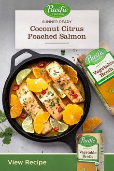 Organic Vegetable Broth and Coconut Plant-Based Beverage compliment the rich, tangy flavor of this citrus poached salmon. Its a perfect recipe for a warm, summer evening. Salmon Recipes, Fish Recipes, Seafood Recipes, Low Carb Recipes, Cooking Recipes, Healthy Recipes, Crockpot Recipes, Dinner Recipes, Poached Salmon