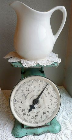 vintage kitchen scale & ironstone pitcher..I remember milk being poured from a pitcher like this and I remember my grandpa having scales like this....