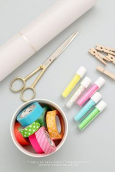 How To Make Wonderful Wax Paper Bags With MT Tape - a wonderful bowl of Washi Tape and Glitter! Creative Crafts, Fun Crafts, Crafts For Kids, Paper Crafts, Washi Tape Storage, Washi Tape Crafts, Mt Tape, Masking Tape, Diy Home Decor Rustic