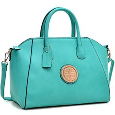 Dasein Faux Leather Weekender Satchel, Tote, Shoulder Bag, Tablet iPad Bag - New Turquoise -- Want to know more, visit