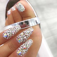 Beautiful mani and pedi fully covered with rhinestones by @wenaildit Ugly Duckling Nails page is dedicated to promoting quality, inspirational nails created by International Nail Artists