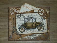 Mannenkaart Men's Cards, Stampin Up Cards, Masculine Cards, Vintage Cards, Antique Cars, Vintage World Maps, Stamps, Trucks, Handmade