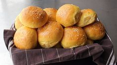 Chef John, Sweet Potato Burger & Slider Buns - Make Your Own Hamburger Buns! Potato Bun Recipe, Hamburger Bun Recipe, Hamburger Buns, Sweet Potato Rolls, Sweet Potato Burgers, Bread And Pastries, Crumpets, Food Network Recipes, Cooking Recipes