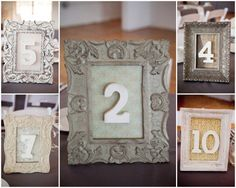 Framed wedding table numbers are some of the simplest, as well as easiest to customize. Use different frames, different fonts for the numbers, etc. Best part about these for an outdoor wedding is they tend to be fairly sturdy.
