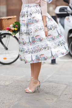 Paris A-line Midi Skirt