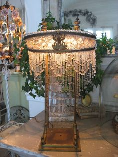 Antique French crystal beaded lamp