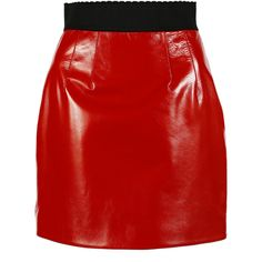 Dolce & Gabbana Mini-Skirts ($1,165) ❤ liked on Polyvore featuring skirts, mini skirts, red, short leather skirt, short skirts, a line skirt, red skirt and dolce gabbana skirts