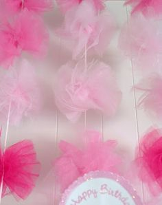 "She says 90"" per pom wrapped around a 4x6 index card. From tulle spools. Where can these go??"