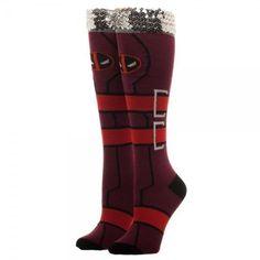 Deadpool Sequin Cuff Knee High Socks