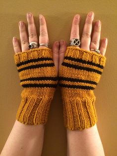 Hufflepuff House Fandom inspired Fingerless Gloves by OutofHandKnits on Etsy https://www.etsy.com/ca/listing/287341875/hufflepuff-house-fandom-inspired