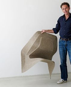 Hemp Chairs - Natural fiber composite meets design at Ventura Lambrate's 'Poetry Happens' exhibition. Berlin-based designer/architect Werner Aisslinger, designed Hemp Chair the first monobloc chair designed using natural fibers that have been molded under heat using a special eco-friendly resin, resulting in a sustainable composite material. The project is supported and is in cooperation with the German chemical company BASF.