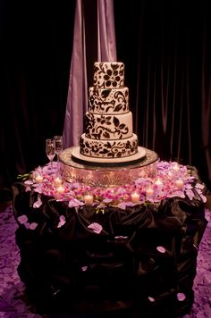 Beautiful Cake Table with Ruffled Table Skirt by Elliott Events