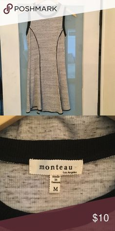 Monteau sleeveless dress with black piping New without tags this soft, flare bottom dress in Size M Monteau Dresses Mini
