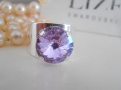 Band Rings Swarovski Ring Lavender Crystal by ParisiJewelryDesigns Swarovski Crystal Rings, Purple Band, Birthday Gifts For Her, Fashion Rings, Provence, Band Rings, Lavender, Silver, Ebay