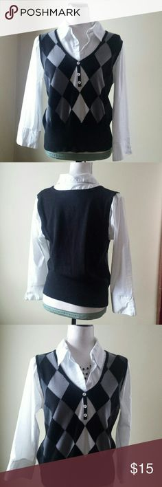 TWO IN ONE ARGYLE SWEATER I love this pattern!  This crisp white shirt has 3/4 sleeves. The attached sweater has button details and is absolutely adorable! Notations Tops Blouses